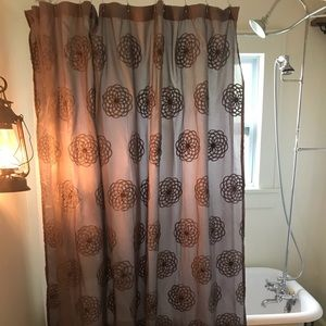 "Gray Embroidered Fabric Shower Curtain 72"" x 72"""